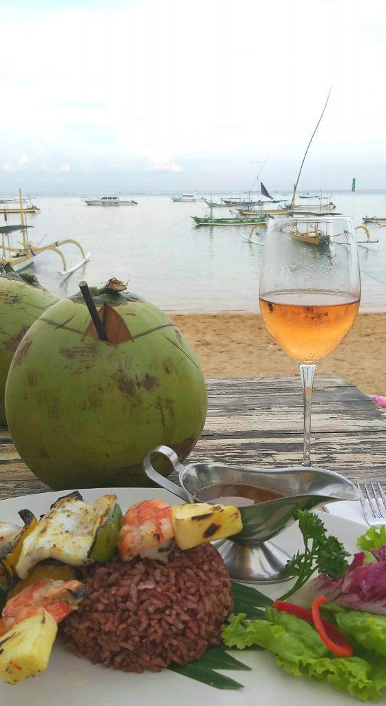 Sanur beach with a coconut