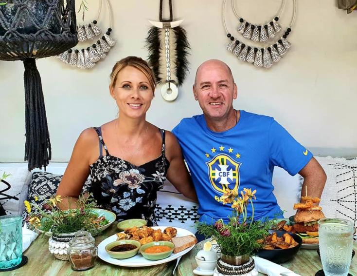 The Zubak Family, Rachel and Chris, enjoying a Balinese lunch-date.