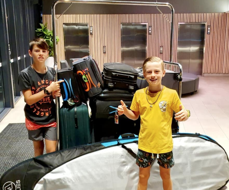 The Zubak family's two sons, Hudson and Baxter, ready for their flight to Bali.