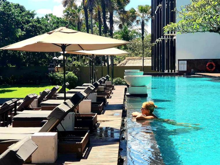 Rachel Zubak relaxing in the pool at the Anantara Seminyak Bali Resort.