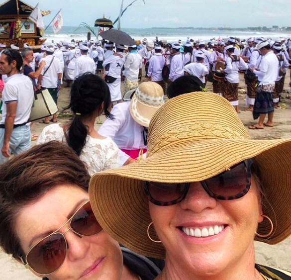 Australian Expat, Jules Thomson, of Indah Escapes, attending a Galungan ceremony at the beach in Bali.