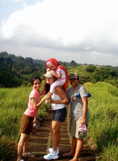 Lee Anna's baby daughter, Shanti, being carried through Campuhan Ridge Walk, Ubud.
