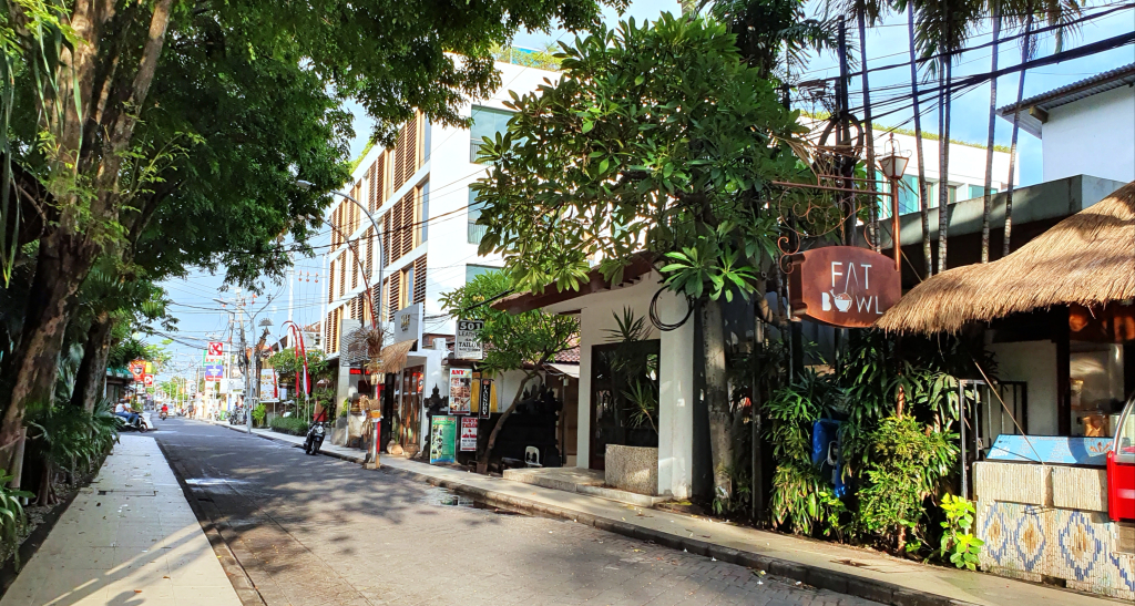 A previously bustling street in Seminyak, Bali, is now empty of traffic or pedestrians due to the COVID-19 Restrictions.