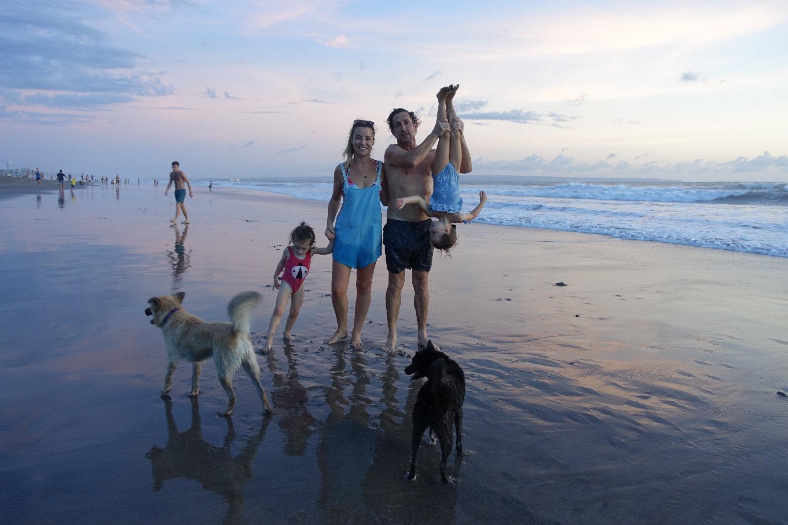 Family on Berawa beach Bali